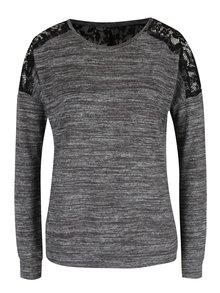 Šedo-hnědý žíhaný svetr s krajkovými detaily ONLY Linea