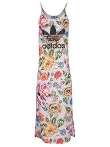 Růžové květované maxišaty s potiskem adidas Originals