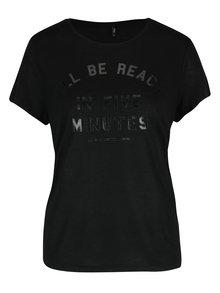 Černé tričko s potiskem ONLY Shiny