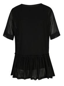 Tricou negru cu maneci transparente si volan ONLY Tribecca
