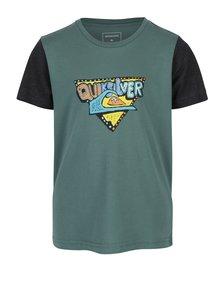 Šedo-zelené klučičí regular fit tričko s potiskem Quiksilver