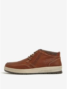 Pantofi maro din piele naturala cu talpa contrastanta pentru barbati - bugatti Revel