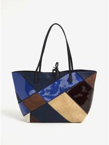 Modrý kockovaný shopper a kabelka 2v1 Desigual Capri Titan