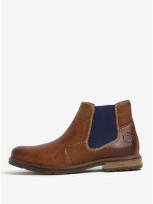 Hnědé pánské kožené chelsea boty s modrou vsadkou bugatti Vandal