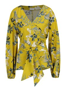 Bluza galbena cu decolteu suprapus si print floral VILA Sephora