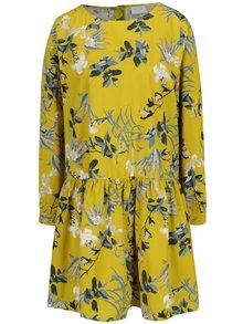 Žluté volné květované šaty s knoflíky na zádech VILA Sephora