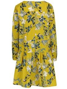 Žlté voľné kvetované šaty s gombíkmi na chrbte VILA Sephora
