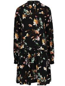 Rochie neagra cu talie joasa, print floral si guler inalt VILA Magnolia