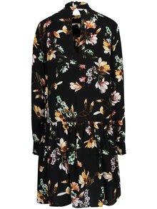 Čierne voľné kvetované šaty s prestrihom na chrbte VILA Magnolia