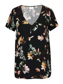 Bluza neagra cu print floral si maneca scurta VILA Magnolia