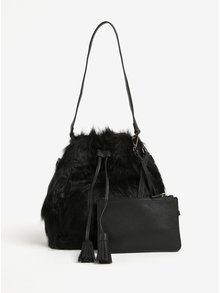 Geanta neagra tip sac cu blana artificiala si interior detasabil -  Fornarina Tulip