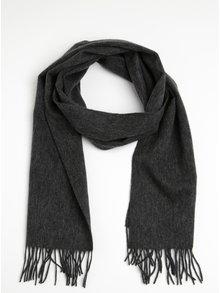 Esarfa gri melanj din lana cu ciucuri pentru barbati - Lindbergh