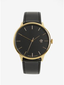Unisex hodinky v zlatej farbe s čiernym remienkom z vegánskej kože CHPO Khorshid