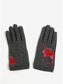 Manusi gri cu negru cu broderie florala Desigual Red Flowers