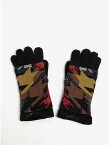 Černé pletené rukavice s odnímatelným barevným návlekem Desigual To The Office