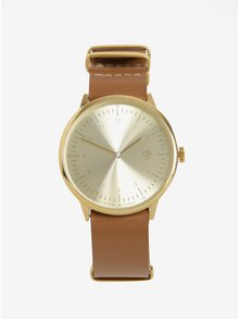 Dámské hodinky ve zlaté barvě s hnědým koženým páskem CHPO Harold