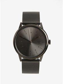 Ceas negru metalic unisex cu batara din otel inoxidabil CHPO Rawiya