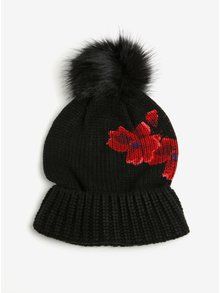 Černá čepice s červenými květy a bambulí Desigual Red Flowers