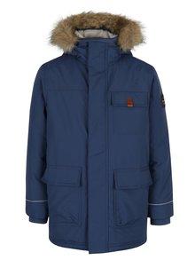 Tmavomodrá chlapčenská zimná vodoodpudivá bunda s kapucňou Quiksilver