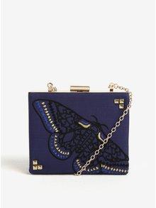 Modrá crossbody kabelka/psaníčko s výšivkou motýla Desigual Caja Revival