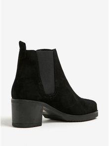 Čierne semišové chelsea topánky na podpätku OJJU