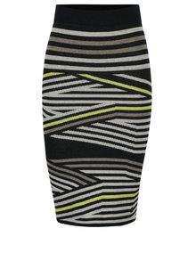 Černá pruhovaná pouzdrová sukně Skunkfunk