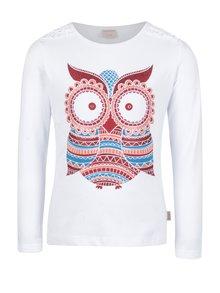 Červeno-bílé holčičí tričko s potiskem sovy Venere