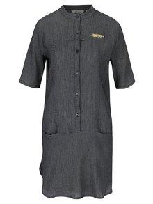 Tmavomodré vzorované košeľové šaty Skunkfunk