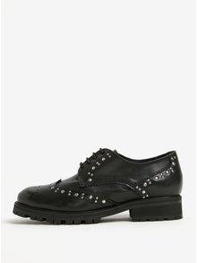 Pantofi brogue negri din piele naturala cu detalii argintii -  OJJU