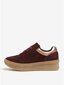 Pantofi sport bordo din piele intoarsa cu platforma si detalii - OJJU