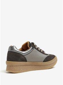 Pantofi sport cu platforma gri cu detalii din piele intoarsa OJJU