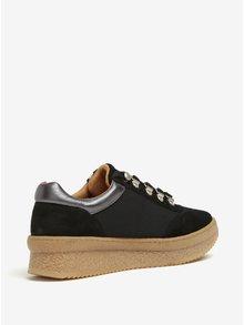 Pantofi sport cu platforma negri cu detalii din piele intoarsa OJJU