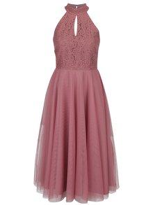 Tmavoružové šaty s tylovou sukňou Little Mistress