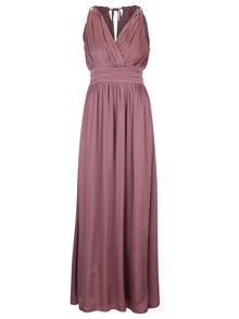Tmavoružové dlhé šaty s prekladaným výstrihom Little Mistress