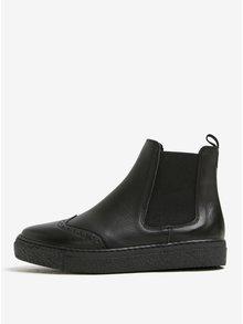 Čierne kožené chelsea topánky na platforme OJJU