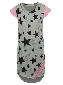 Šedé holčičí šaty s motivem hvězd a růžovými detaily 3fnky kids Stars