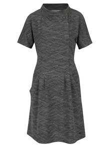 Krémovo–čierne vzorované šaty s vreckami Skunkfunk