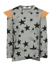 Sivá detská mikina s motívom hviezd a oranžovými detailmi 3fnky kids Stars