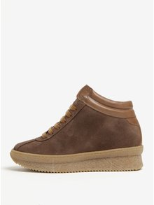 Pantofi sport maro din piele intoarsa cu platforma - OJJU