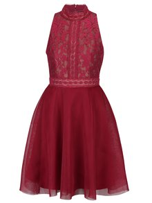 Vínové šaty s čipkovaným topom a sieťovanou sukňou Little Mistress