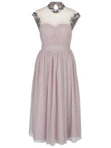 Rochie maxi roz prafuit din tul cu broderie florala din margele Little Mistress
