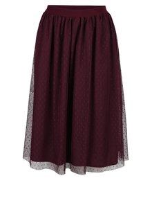 Vínová tylová sukňa s gumou v páse Little Mistress