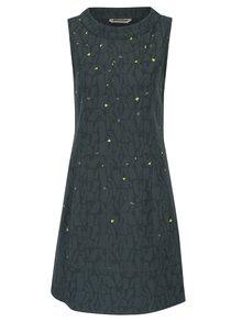 Tmavě zelené lněné vzorované šaty bez rukávu Skunkfunk