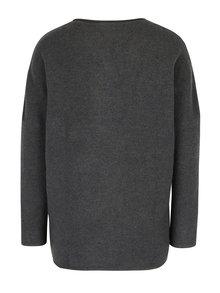 Tmavosivý vlnený sveter s prekladaným predným dielom Skunkfunk
