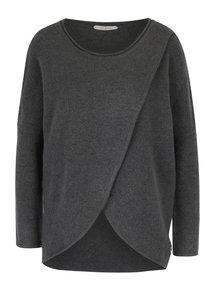Tmavě šedý vlněný svetr s překládaným předním dílem Skunkfunk