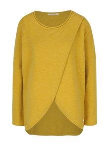 Horčicový vlnený sveter s prekladaným predným dielom Skunkfunk