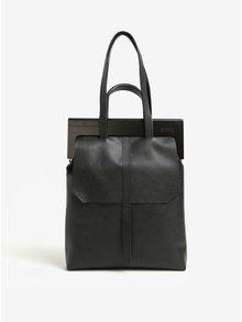 Černá kožená kabelka s dřevěným rámem Atribut