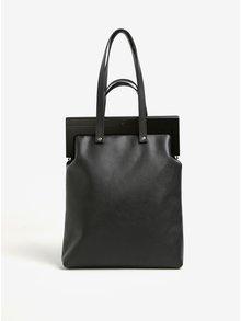 Čierna kožená kabelka s dreveným rámom Atribut