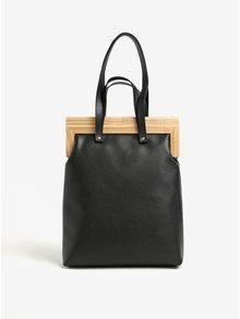 Čierna kožená kabelka s dreveným rámom v prírodnej farbe Atribut