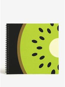 Caiet verde & negru cu print kiwi - Fruitables